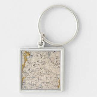 Topographic and Glacial Map of New Hampshire Keychain