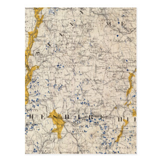 Topographic and Glacial Map of New Hampshire Postcard