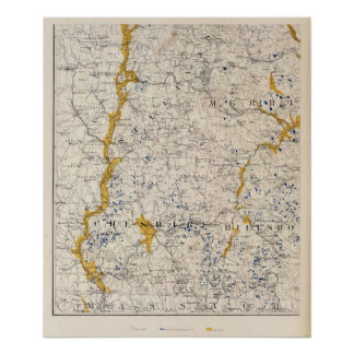 Topographic and Glacial Map of New Hampshire Poster