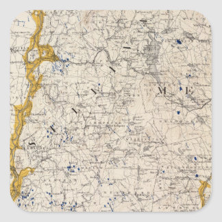 Topographic and Glacial Map of New Hampshire Square Sticker