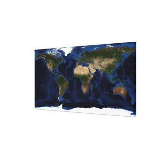 Topographic & bathymetric shading of full earth canvas print