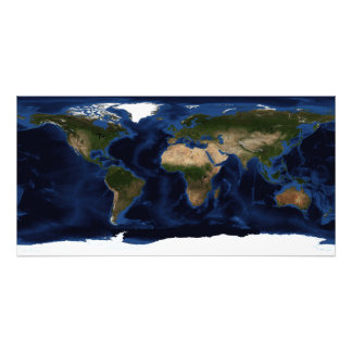 Topographic & bathymetric shading of full earth photo print