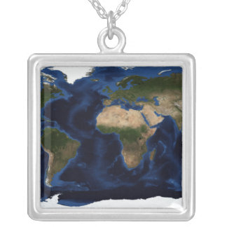 Topographic & bathymetric shading of full earth silver plated necklace