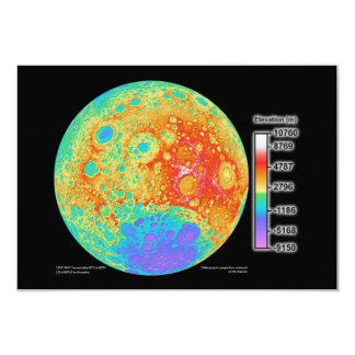 Topographic Color Map of the Moon's Lunar Surface Card