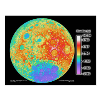 Topographic Color Map of the Moon's Lunar Surface Post Cards