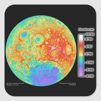 Topographic Color Map of the Moon's Lunar Surface Square Sticker