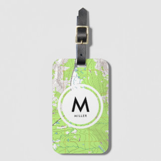 Topographic Map Monogram Bag Tag
