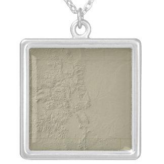 Topographic Map of Colorado Square Pendant Necklace