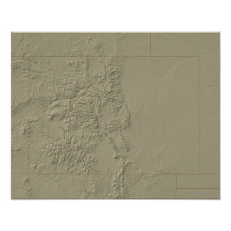 Topographic Map of Colorado Poster