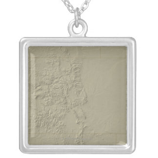 Topographic Map of Colorado Silver Plated Necklace