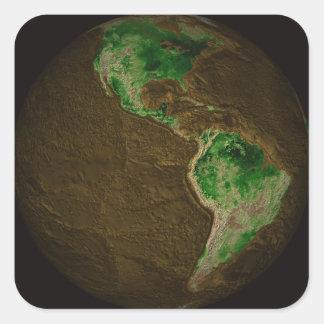 Topographic Map of Earth Square Sticker