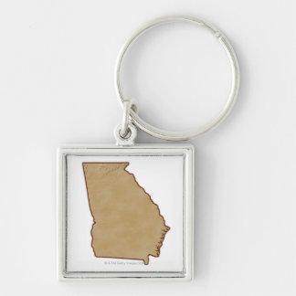 Topographic Map of Georgia Silver-Colored Square Keychain