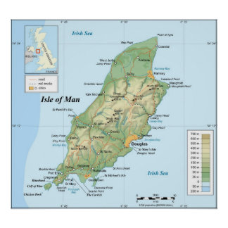 Topographic Map of the Isle of Man Poster