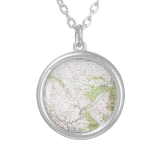 Topographic Map Silver Plated Necklace
