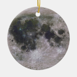 Topographic Surface of Earth's Moon Ceramic Ornament