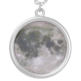 Topographic Surface of Earth's Moon Silver Plated Necklace