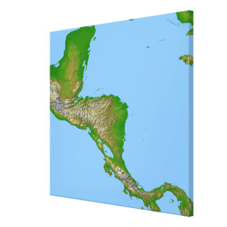 Topographic view of Central America Canvas Print