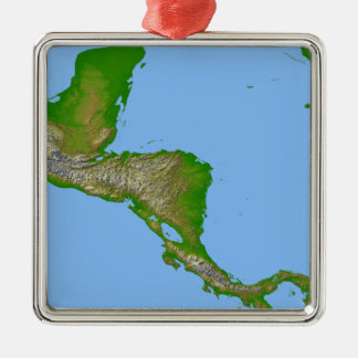 Topographic view of Central America Metal Ornament
