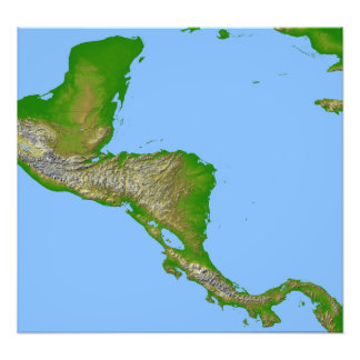 Topographic view of Central America Photo Print