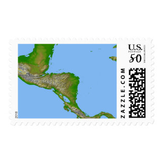 Topographic view of Central America Postage