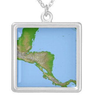 Topographic view of Central America Silver Plated Necklace