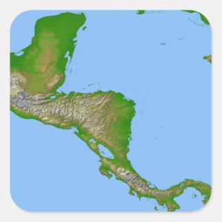 Topographic view of Central America Square Sticker