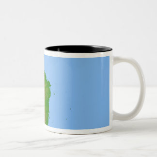 Topographic view of Central America Two-Tone Coffee Mug