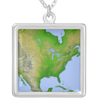 Topographic view of North America Square Pendant Necklace