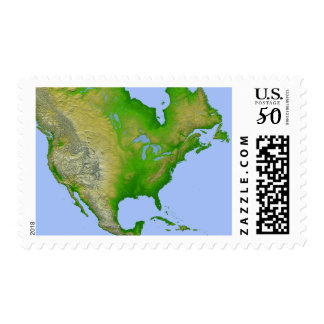 Topographic view of North America Postage