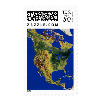 Topographic View of North and Central America Postage