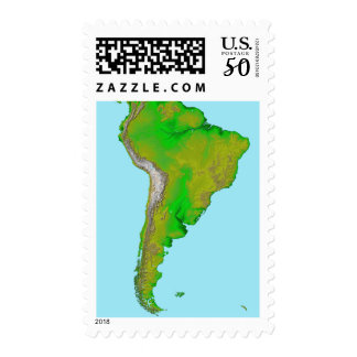 Topographic view of South America Postage