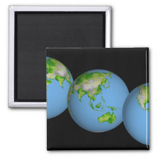 Topographic views of the world 2 inch square magnet