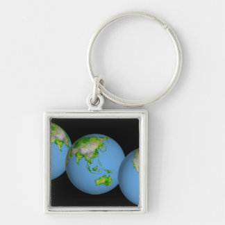 Topographic views of the world keychain