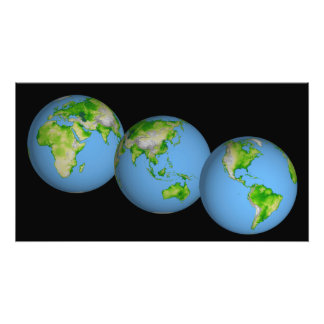 Topographic views of the world photo print