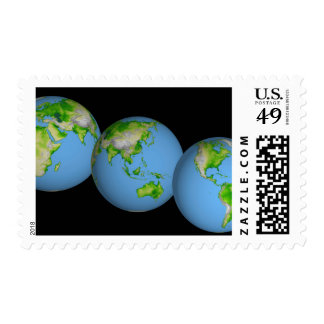Topographic views of the world postage stamp