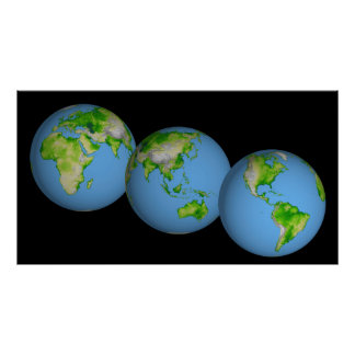 Topographic views of the world poster