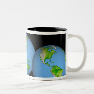 Topographic views of the world Two-Tone coffee mug