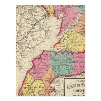 Topographical atlas of Maryland counties 2 Postcard