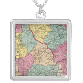 Topographical atlas of Maryland counties 3 Silver Plated Necklace