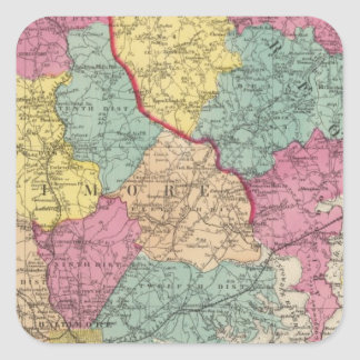 Topographical atlas of Maryland counties 3 Square Sticker