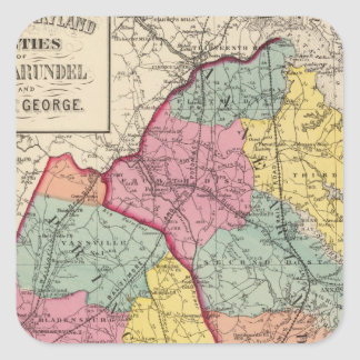 Topographical atlas of Maryland counties 4 Square Sticker