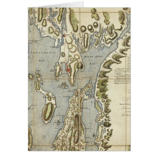 Topographical Chart of the Bay of Narraganset Card