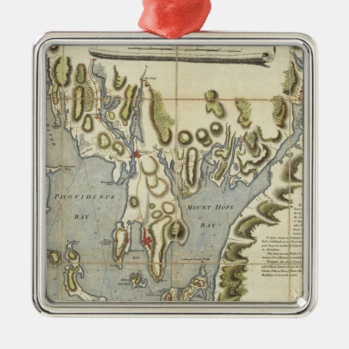 Topographical Chart of the Bay of Narraganset Metal Ornament