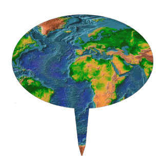 Topographical Earth Cake Topper