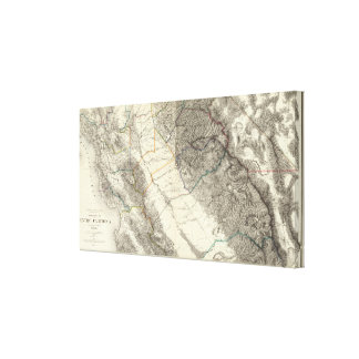 Topographical Map of Central California Canvas Print