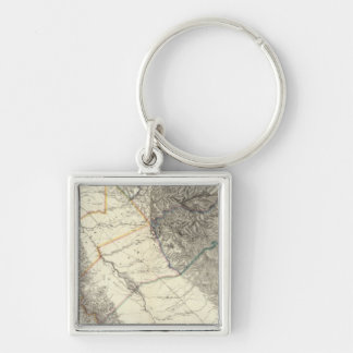 Topographical Map of Central California Key Chain