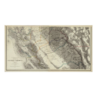 Topographical Map of Central California Poster