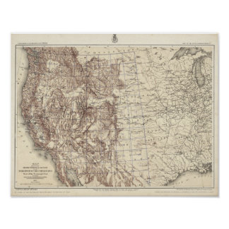 Topographical Map of Mississippi River Poster