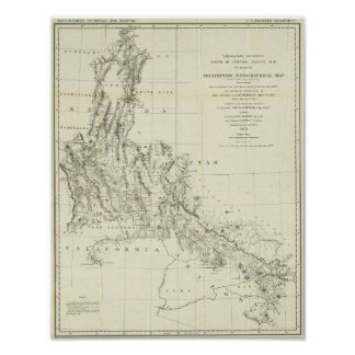 Topographical Map of Nevada and Arizona Poster