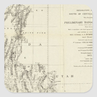 Topographical Map of Nevada and Arizona Square Sticker